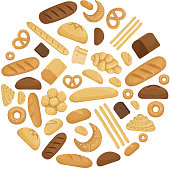 Bread and tasty bakery foods in circle shape. Vector illustration in cartoon style. Tasty fresh bread and bakery snack for breakfast and lunch