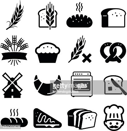breads and grains icons black series vector art thinkstock