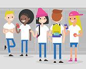Break at school. Conversation. Front and rear views of teenagers at school corridor. Multiracial friends. Millennials at school. Generation z / flat editable vector illustration, clip art