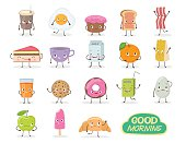 Breakfast. Emoticon food funny elements vector character. Different emotions collection.