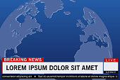 Breaking news live template on world map background. Vector illustration.