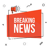Breaking news, vector red sign illustration isolated on white background with loudspeaker, new label design for articles. Business  advertising web icons, promotion announce tag, sticker, announcement