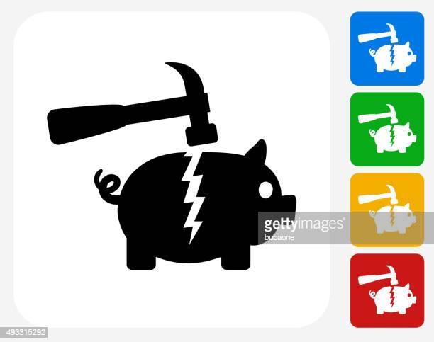Breaking Piggy Bank Icon Flat Graphic Design