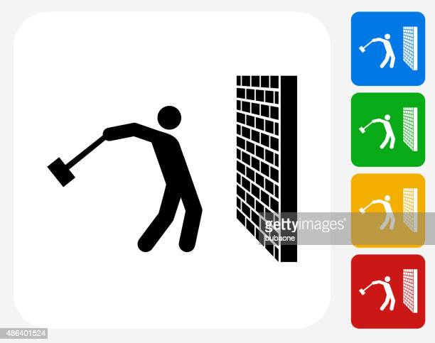 Breaking the Wall Icon Flat Graphic Design