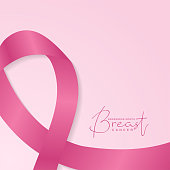 breast cancer awareness banner with pink ribbon