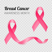 Breast cancer awareness month. Pink ribbon. Vector illustration