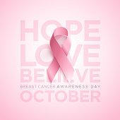 Breast Cancer Awareness Ribbon. Vector design and illustration.