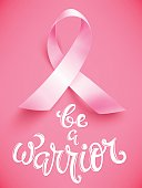 Realistic pink ribbon, breast cancer awareness symbol, be a warrior, vector illustration