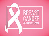 Pink ribbon, breast cancer awareness symbol, vector illustration