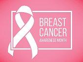 Pink ribbon, breast cancer awareness symbol, vector illustration