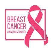 Realistic pink ribbon, breast cancer awareness symbol, vector illustration