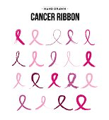 Set of hand drawn pink breast cancer ribbon icons for awareness support. EPS10 vector.