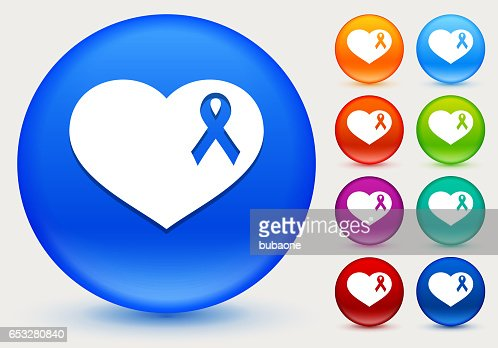 Breast Cancer Support Ribbon Heart Icon on Shiny Color Circle Buttons : Vektorgrafik