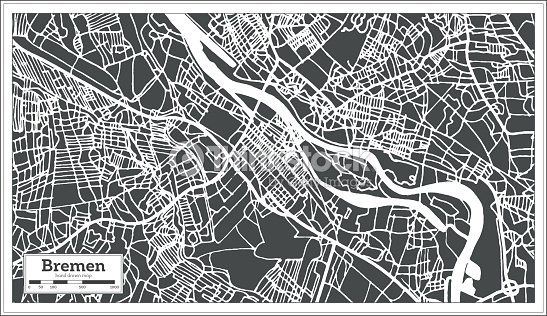 Bremen Germany City Map In Retro Style Outline Map Vector Art