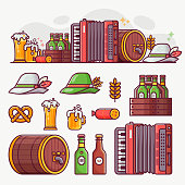 Brewing and beer festival icons and oktoberfest banner. German beer fest symbols and design elements in line art. Craft beer icon set with mugs, bavarian hat, barrel, food and drinks.
