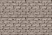 Gray-brown brick seamless wall, pattern in cartoon style in vector