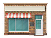 Brick small store building facade with big window and awning. Vector 3d realistic style.