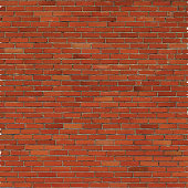 Brick wall, red relief texture with shadow, vector background illustration