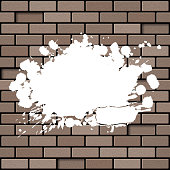 Brick wall with splashes. Grunge background EPS10 vector