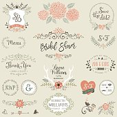 Hand drawn Bridal Shower and Wedding collection with typographic design elements. Ornate motives, branches, wreaths, monograms, frames and flowers. Vector illustration.