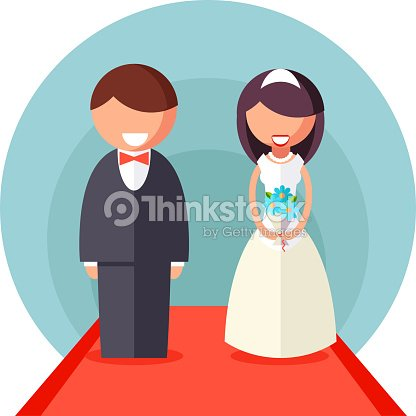 Bride And Groom Marriage Icon Wedding Symbol Flat Design Template