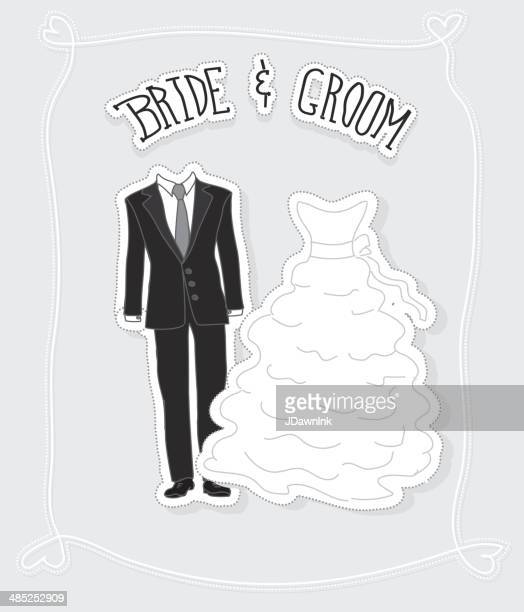 Bride and groom suit and dress with handrawn text