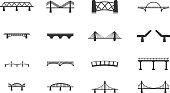 Bridges black silhouette simply icons for web. See also: