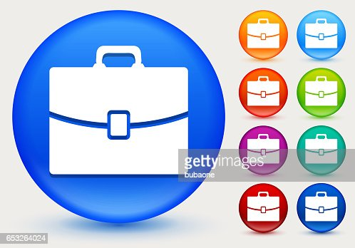 Briefcase Icon on Shiny Color Circle Buttons : Vectorkunst