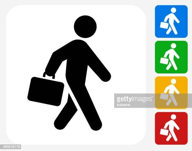Briefcase Stick Figure Icon Flat Graphic Design