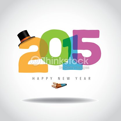 bright 2015 new year design top hat and party blower vector art