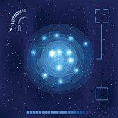 Bright blue radar screen on a deep night sky. Vector illustration