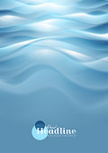 Bright blue wavy abstract background. Vector design