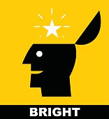 Simple flat icon of a bright person, suitable for poster, brochure, slogan for education and school .