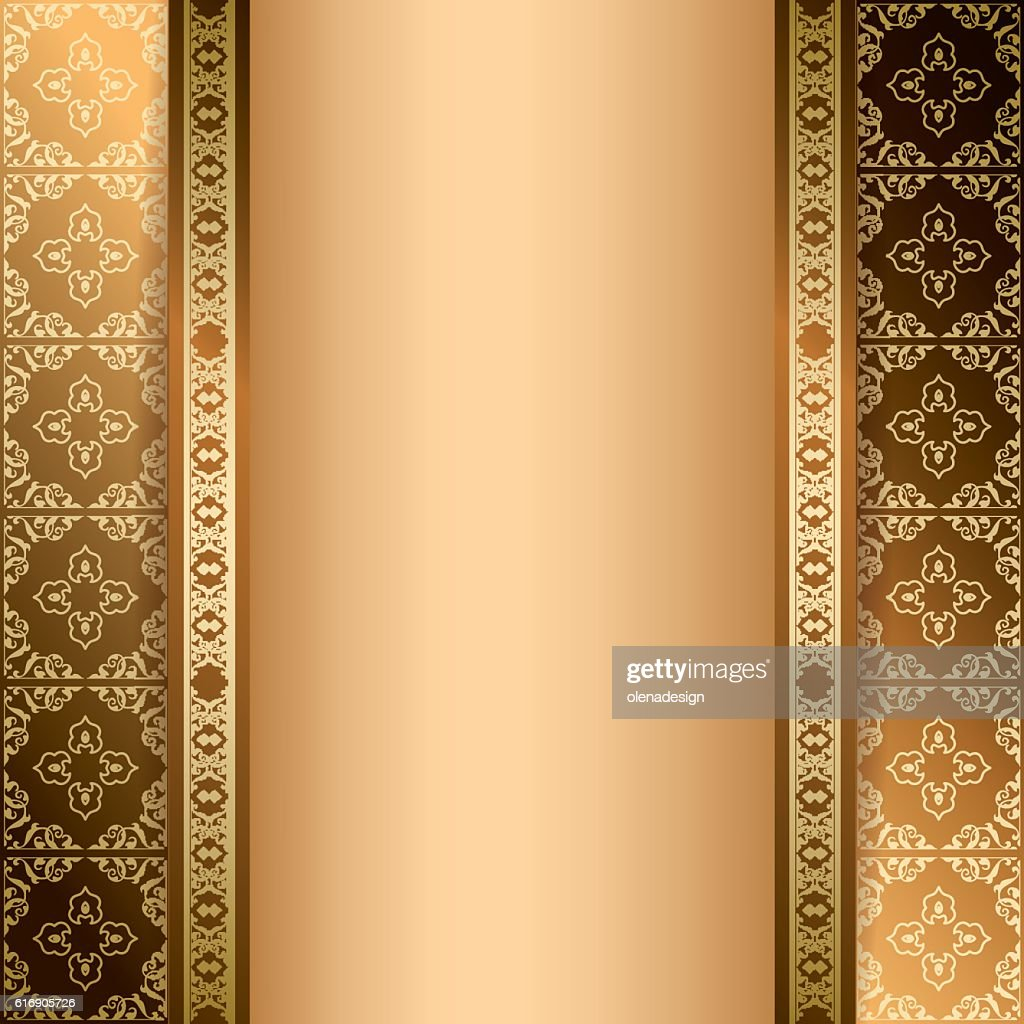 bright brown ornamental background with gradient - vector : Vector Art
