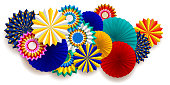 Bright carnival composition with fans