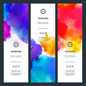 Bright Colorful Banners with Watercolor Splashes. Abstract Holi Paint Texture. Rainbow Colored Banner Design.
