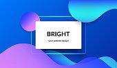 Bright design for corporate and personal website banners and presentation slides. Abstract landscape background with white info card and gradient color waves, shadows and blend on blue with copyspace