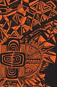 Bright, ethnic pattern, black outline on an orange background, abstract psychedelic background, Boho style. Colorful ornamental card. Vector hand drawn illustration.'r'n
