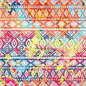 bright ethnic pattern, geometric striped background, tribal motifs, spot colors, vector illustration