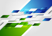 Bright green and blue contrast tech corporate background. Vector geometric design