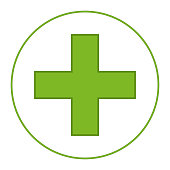 Bright green medical cross symbol. Healthcare themed vector illustration for icon, sticker, sign, patch, certificate badge, gift card, stamp symbol, label, poster, web banner