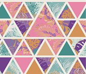 Bright hawaiian pattern with tropical plants