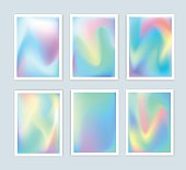 Bright holographic backgrounds 2 set for a different design. You can use a gift card, cover, book, printing, fashion. Modern style trends 80. surreal hipster images.