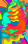 Bright multicolored abstract background, psychedelic style, vector hand drawing illustration, stylish card.'r'n