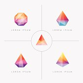 premium collection of bright multicolored geometric polygon facet crystal gem icons for visual identity