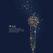 Bright music poster with microphone of glitter and place for text. Vector illustration