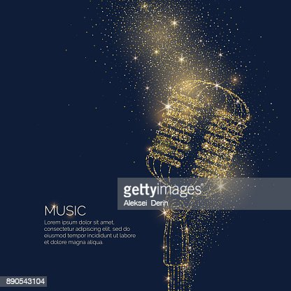 Bright music poster with microphone of glitter place for text. Vector illustration : stock vector