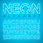 Bright Neon Alphabet on Blue Background. Vector Letter, Number and Symbol with Shiny Glow Effect Layered Separated Characters. Font Design template for Your Text, Decoration, Banner, Flyer or Promotio