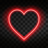 Bright neon heart. Heart sign on dark transparent background. Neon glow effect. Vector