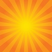 Bright orange rays background. Comics, pop art style. Vector eps 10